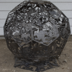 Sphere firepit with images of wildlife